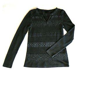 Lucky Brand charcoal gray sweater crochet detail